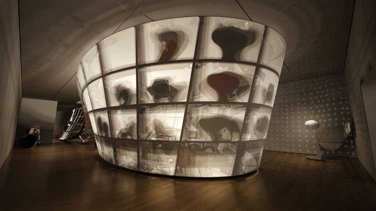 "Rendering of the Ron Arad: No Discipline exhibition, featuring Cage sans Frontières (Cage without Borders)<br/><br/>Photo courtesy of <a href=""http://www.ronarad.com"">Ron Arad Associates</a> and the <a href=""http://www.moma.org"">Museum of Modern Art</a>"