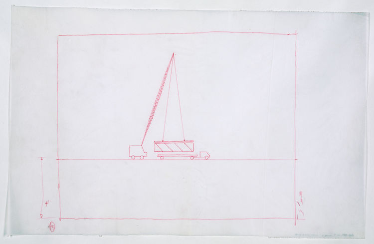 For all the techy grandeur of Rudolph's sketches, I think I most love this drawing of a crane and delivery truck. 1970. Red pencil on paper, 15 ½ x 34 inches. Courtesy of the Paul Rudolph Archive, Library of Congress Prints and Photographs Division.