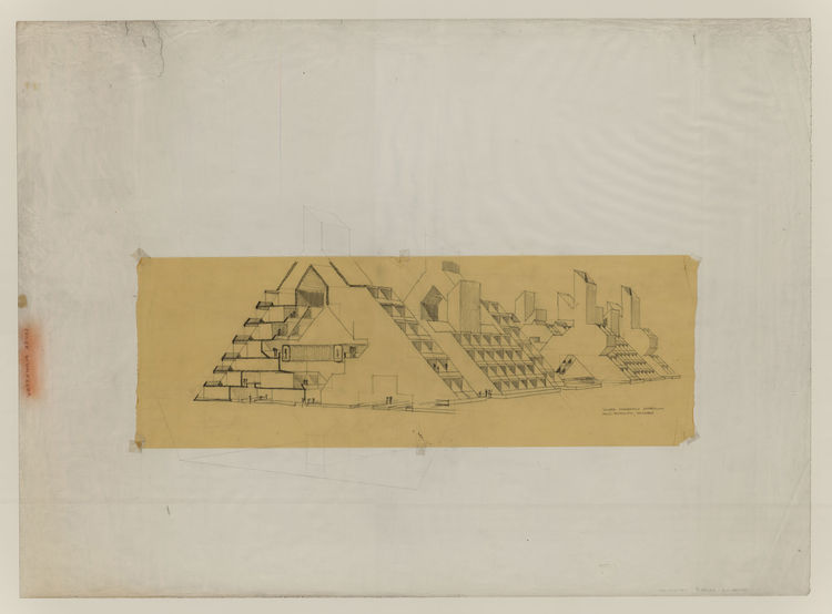 Rudolph favored A-frame structures to the roadway. 1970. Graphite on paper with graphite-on-trace overlay, 36 1/4 x 50 inches. Courtesy of the Paul Rudolph Archive, Library of Congress Prints and Photographs Division.