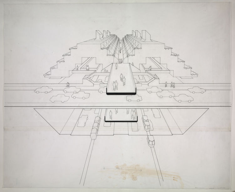 This perspective drawing shows a section of the LME as it would have been between Broome and Spring Streets. 1970. Ink and graphite on paper, 30 x 36 inches. Courtesy of the Paul Rudolph Archive, Library of Congress Prints and Photographs Division.