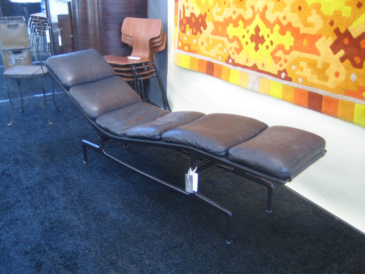 "This lounger was made by Charles and Ray Eames for filmmaker Billy Wilder. It was lovely, if a bit battered. I recently saw a very strange, Cold War farce by Wilder called ""One, Two, Three."" Hilariously dated, but Cagney was great. The lounger is being sh"