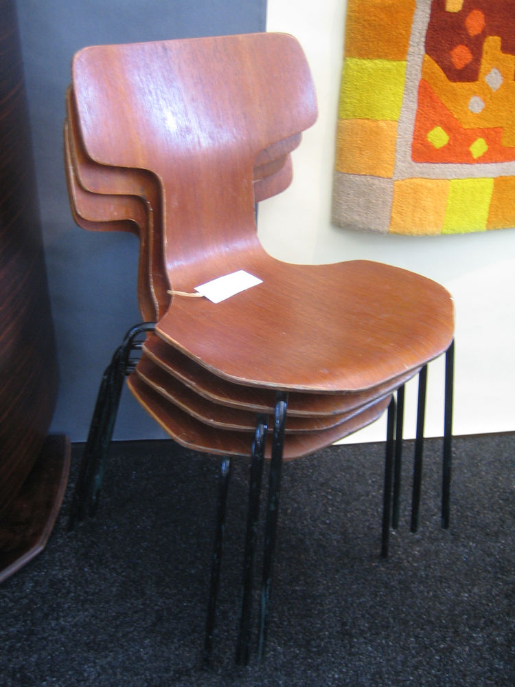 These Fritz Hansen chairs were stacked at the Ma(i)sonry booth. -Sarah