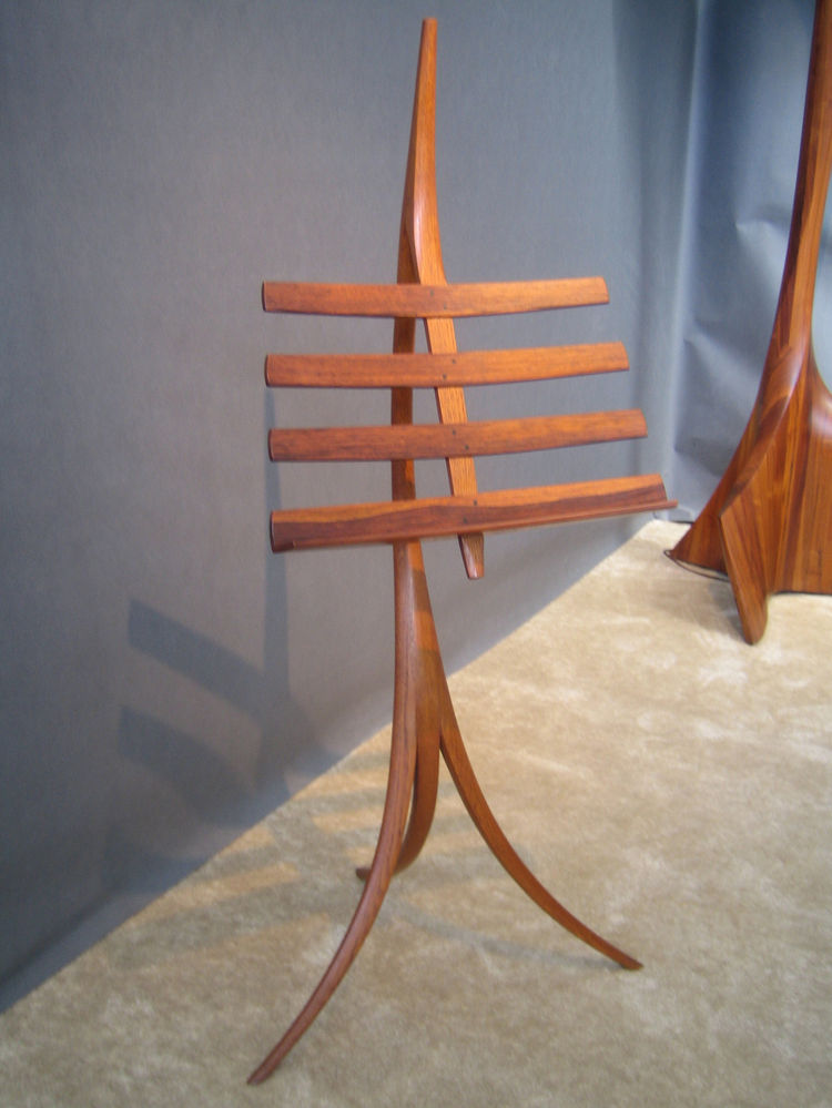 Wendell Castle showcased this beautiful bent wood music stand. -Sarah