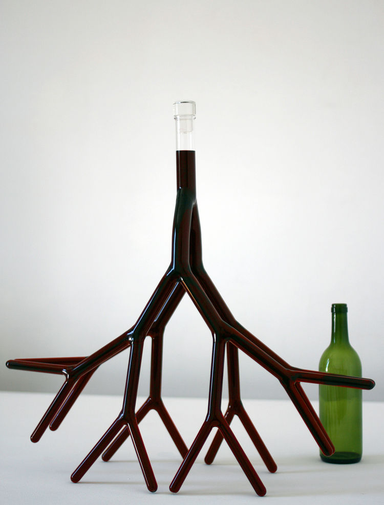 This root-like decanter, Carafe No. 5, is by Etienne Meneau, designed in 2008, fabricated in 2009.