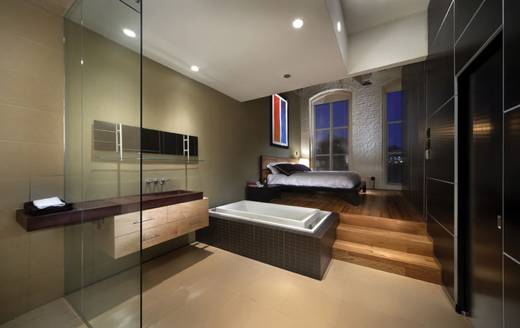 """The aesthetic approach taken by <a href=""""http://www.angeriodesign.com/"""">Angerio Design</a> assumes an attitude of balance; original 1890s finishes (wooden columns, beams, structural decking and brick bearing walls) are uncovered, preserved and displayed,"""