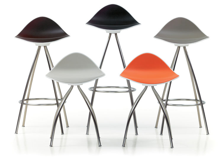 "The 2007 Onda barstool can be used indoors and out. The pliable rubber skin  ""is an anti-slippery surface that holds you in the seat,"" says Gasca."