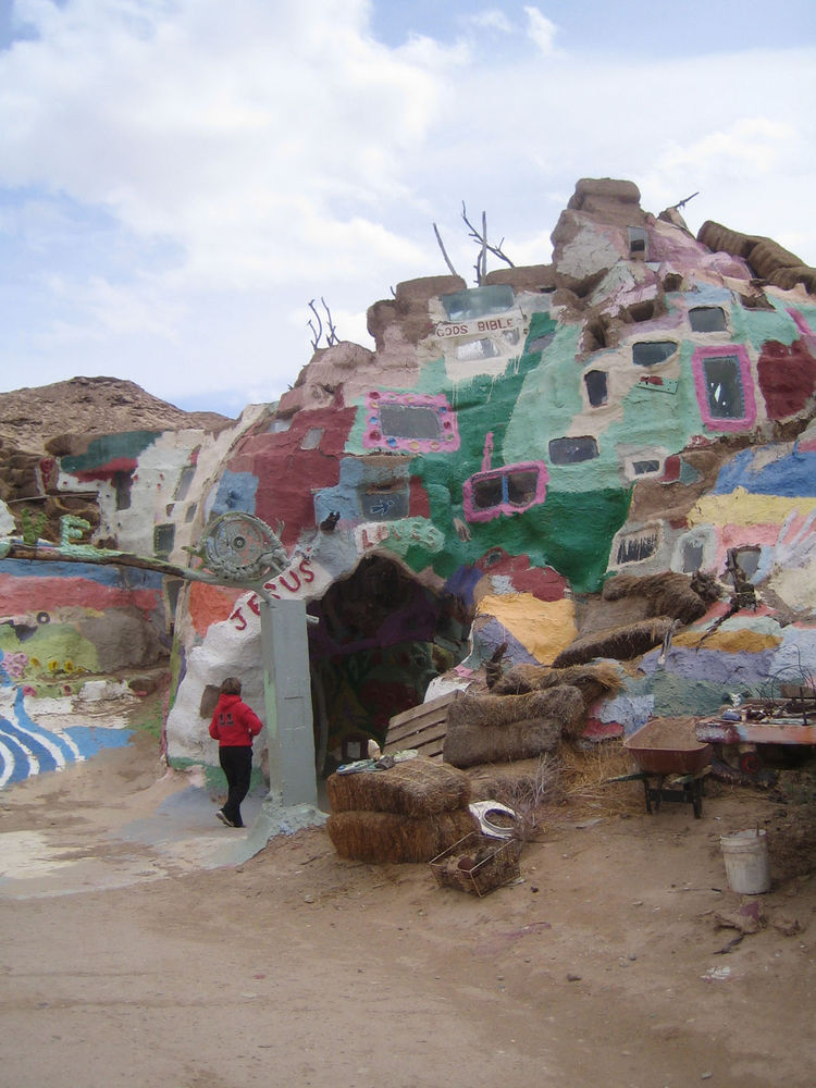 Here's a look at another portion of Salvation Mountain next to the main mountain. It's a kind of warren of rooms and underground caves full of colors and strange objects.
