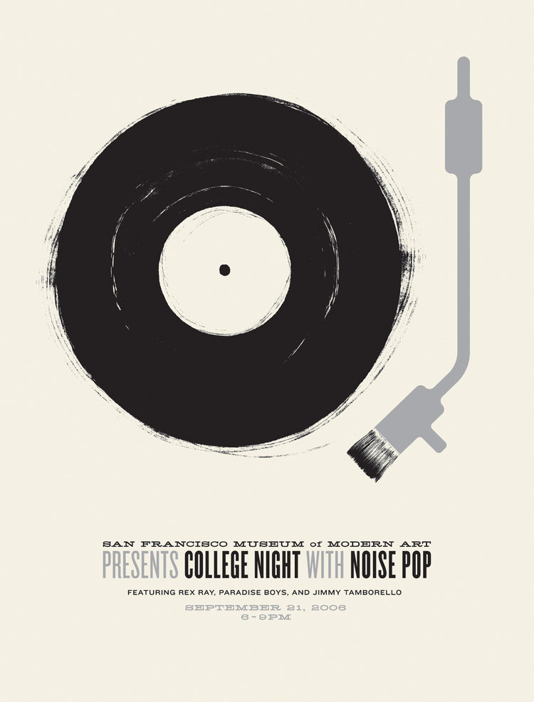 Poster for San Francisco Museum of Modern Art Presents College Night with Noise Pop featuring Rex Ray, Paradise Boys, and Jimmy Tamborello (2006) by Jason Munn. Two-color silk screen. 19 x 25 inches. From <i>The Small Stakes: Music Posters</i> published b