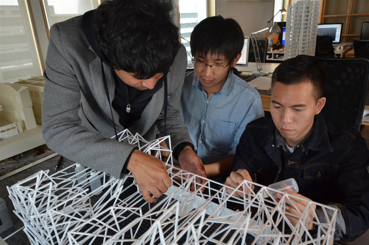 The physical model, like the final installation, is broken down into smaller sections with each section consists of four vertical units.