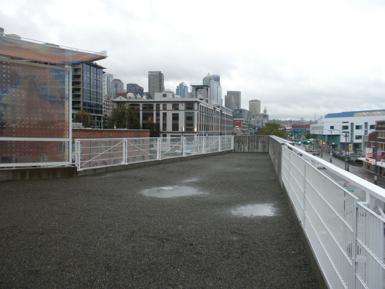 Turning to my right and up the path, I ascended up the path to the outlook toward downtown Seattle. Below the cantilevered viewing platform are Louise Bourgeois's <i>Eye Benches</i> as well as her <i>Father and Son</i> fountain.