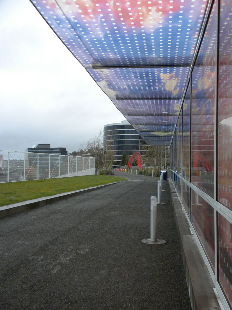 Turning around to continue on my—at this point—photo walk, I stood under the <i>Seattle Cloud Cover</i> by Teresita Fernández for protection from the light mist. The laminated glass artwork extends across the bridge that leads pedestrians over the railroa