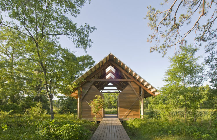 """Shangri La Botanical Gardens and Nature Center (exterior view) in Orange, Texas, by <a href=""""http://www.lakeflato.com"""">Lake Flato Architects</a>. Photo by Hester + Hardaway."""