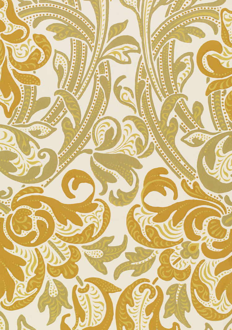 <i>Sienna</i>, wallpaper. Lewis Foreman Day/Jeffrey & Co. Color machine print on paper. UK, c. 1887-1900 (V&A: E.23158-1957). From <i>V&A Pattern Series II: Garden Florals</i> published by V&A Publishing and Abrams Books.