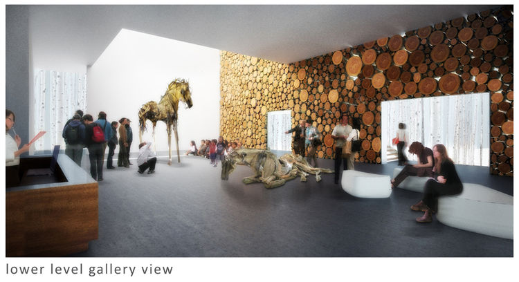 This image shows an interior gallery space from Sparano Mooney's proposal. The logs you see in the wall are actually dry-stacked, allowing light to flow between the rooms.