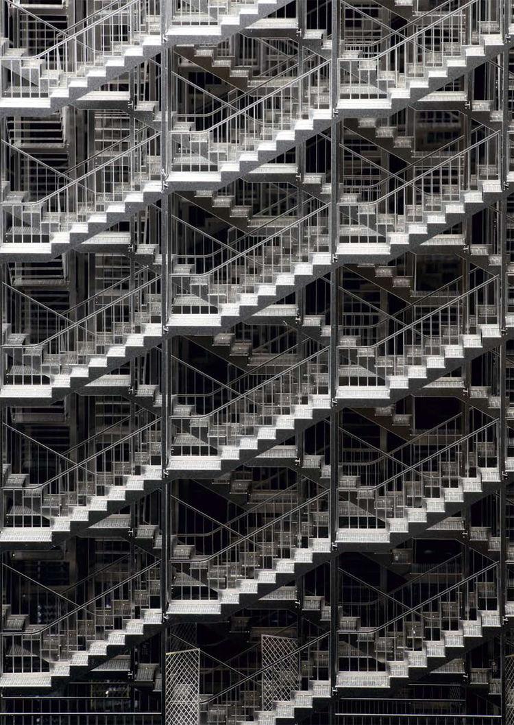 "Inhale, Exhale (staircase sculpture) by <a href=""http://www.sambuxton.com/"">Sam Buxton</a>."