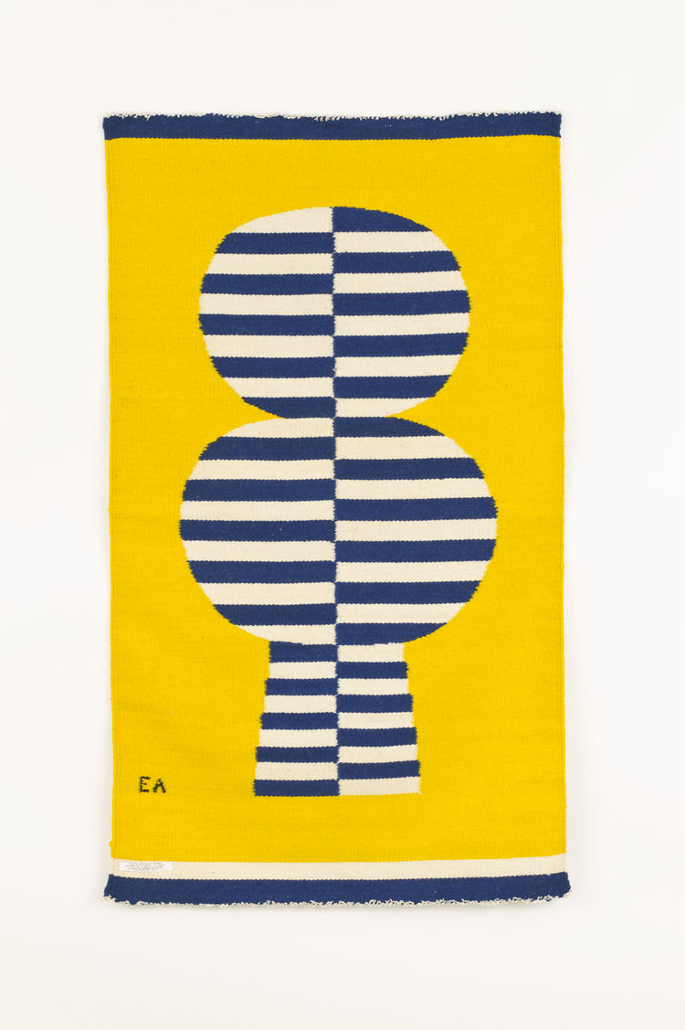 <i>Striped Candy Tree</i>, hand-woven wool tapestry weave, Evelyn Ackerman, 1968.