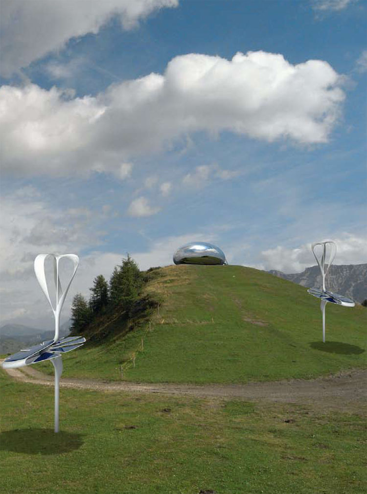 """Alpine Capsule (sustainable living pod with solar- and win-energy generation units) by <a href=""""http://www.rosslovegrove.com/"""">Ross Lovegrove</a>."""