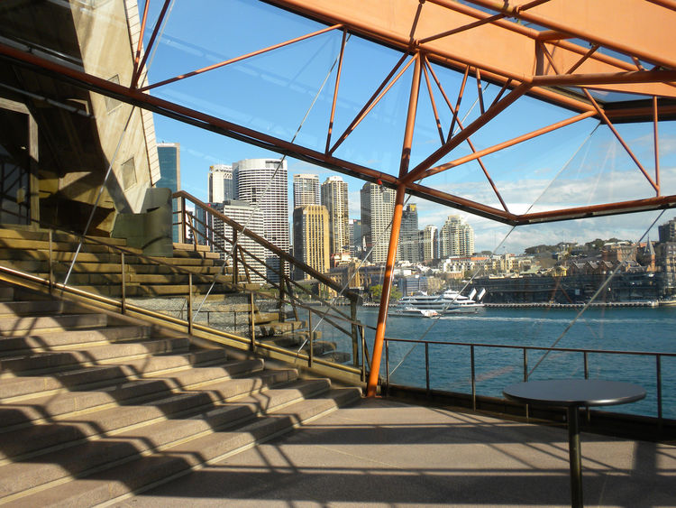 Another part of the intermission space in the Concert Hall overlooks Sydney Cove and Circular Quay, the busy ferry port from which boats are always coming and going.