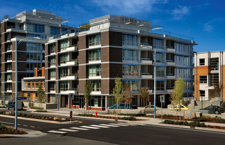 """Synergy at Dockside Green (exterior view) in Victoria, British Columbia, by <a href=""""http://www.busby.ca"""">Busby Perkins + Will</a>. Photo by Vince Klassen."""