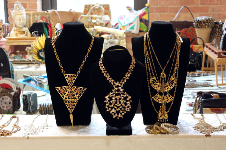 "Statement necklaces like these elaborate examples from seller <a href=""http://www.shopnov.com/"">Shop NOV</a> (Adrienne Baskin) were a big seller at the May TVB. <br /><br />Photo by <a href=""http://avoision.com/"">Felix Jung</a>"