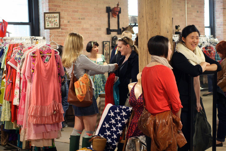 "Vintage clothing and accessories vendors are abundant at the Bazaar, like Nicole Hughes' <a href=""http://www.etsy.com/shop/BombshellShocked"">Bombshellshocked</a> booth where gals congregated to pick from her retro threads and have a few laughs. <br /><br"