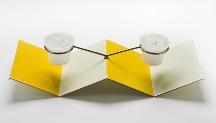 <i>Table Top Candle Holder</i>, porcelain enamel on steel, Jerome Ackerman, 1958.