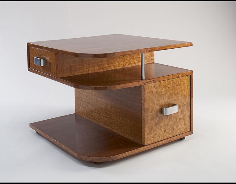 Maple, walnut veneer, maple veneer, and metal table by American designer Russel Wright circa 1965 for the Heywood-Wakefield Company in Gardner, Massachusetts.