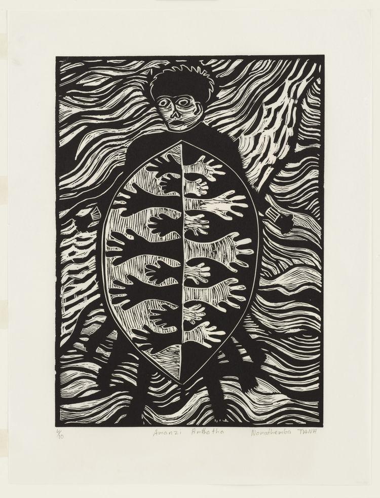 "Nomathemba Tana (South African, born 1953). <i>Amanzi Amthatha<i> from <i>Makana Remembered</i>, by various artists. 2001. Linoleum cut from a portfolio of twenty prints of various mediums, block: 19 3/16"" × 13 7/8"". Image courtesy MoMA."