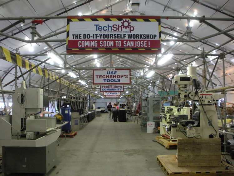 "<a href=""http://techshop.ws/copyright.html"">TechShop, Inc</a> built a temporary workspace in the center of the South Hall to provide artists the tools needed to build their exhibits. TechShop is a member-based workshop with locations in Menlo Park, Califo"