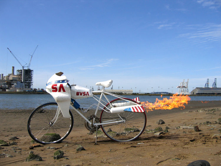 """Jason """"Jay"""" Brommel hacked this bike by attaching a propane tank and (illegal) fireworks to create the Rocket Bike."""
