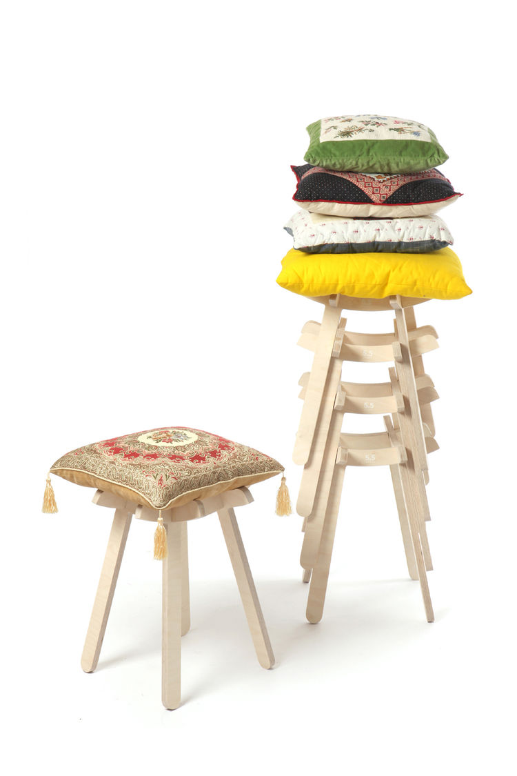 """The Tab stool by <a href=""""http://www.cinqcinqdesigners.com/"""">5.5 Designers</a> is an incomplete: The legs and frame must be assembled by the owner, who must also then pick a pillow with which to top it."""