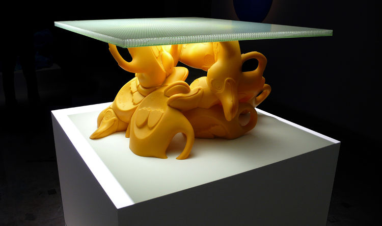 """<a href=""""http://www.glform.com/"""">Greg Lynn</a>'s Toy Furniture features discarded plastic toys into coffee table bases. Photo courtesy Greg Lynn FORM."""