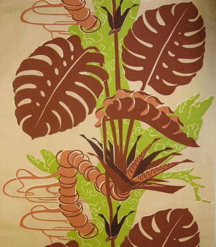 Block-printed cotton textile panel by Hungarian-born American-based designer George Farkas circa 1948. Possibly manufactured by Spectrum.