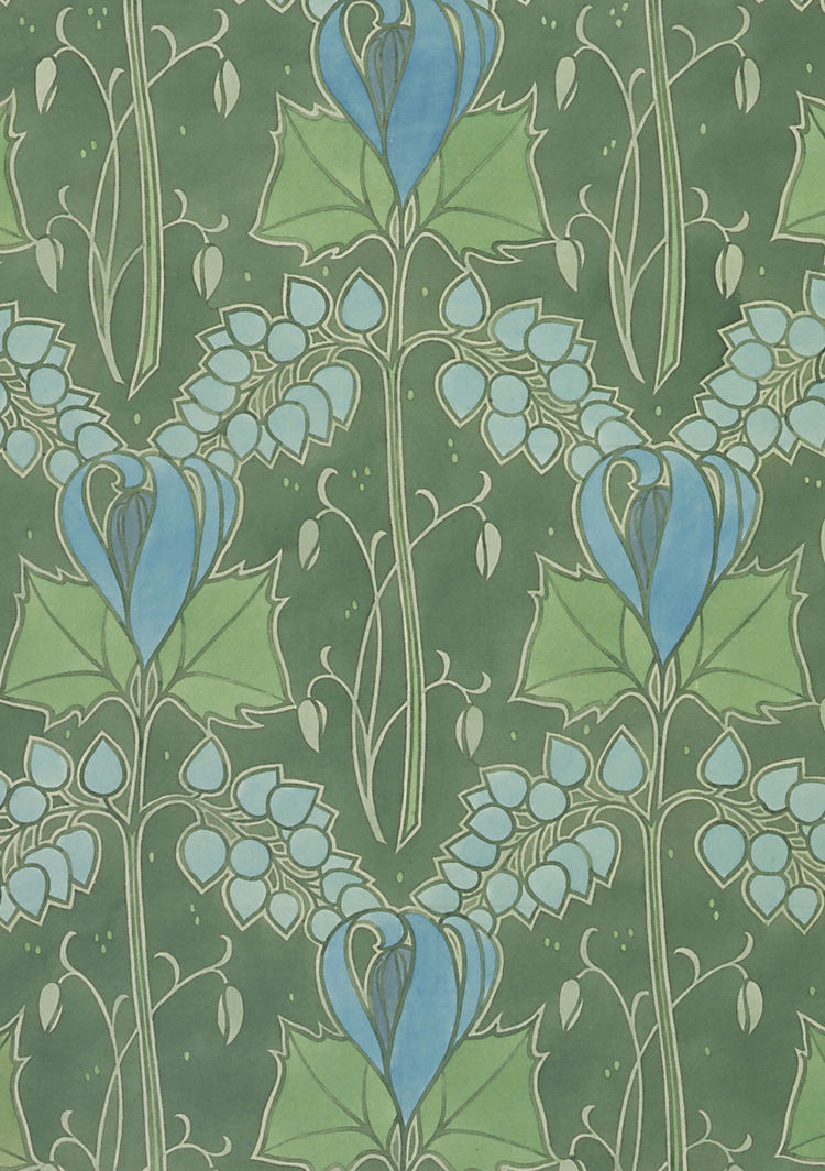 Textile or wallpaper design. Lindsay P. Butterfield. Watercolor and pencil. UK, 1903 (V&A: E.749-1974). From <i>V&A Pattern Series II: Garden Florals</i> published by V&A Publishing and Abrams Books.