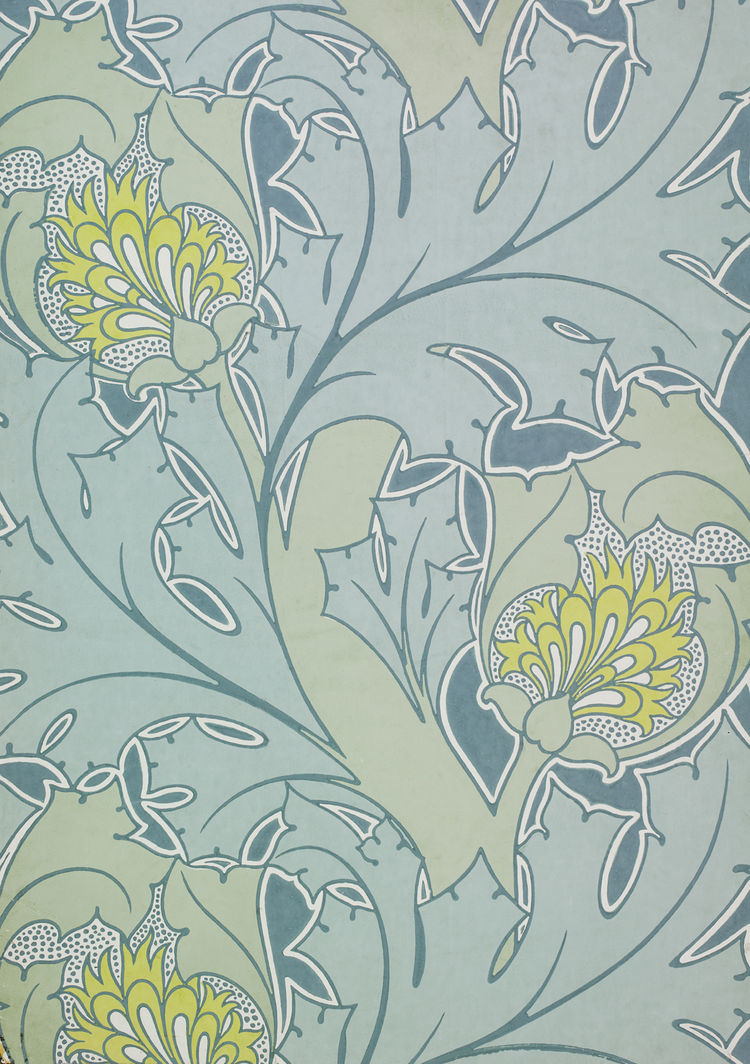 <i>The Iolanthe</i>, wallpaper. C.F.A. Voysey/Essex & Co. Color woodblock print on paper. UK, c. 1897 (V&A: E.1899-1953). From <i>V&A Pattern Series II: Garden Florals</i> published by V&A Publishing and Abrams Books.