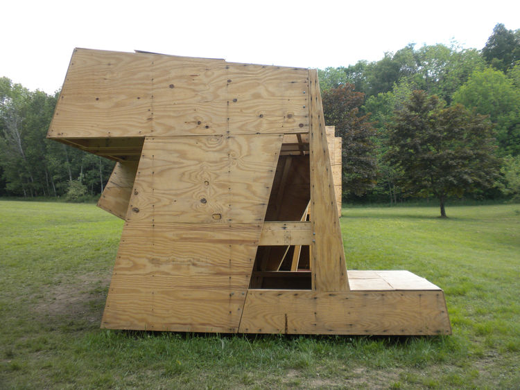 The structures, designed as six-by-six-by-eight-foot boxes, resemble cubes that have be cut, slid, and twisted into new shapes that incorporate the required elements.