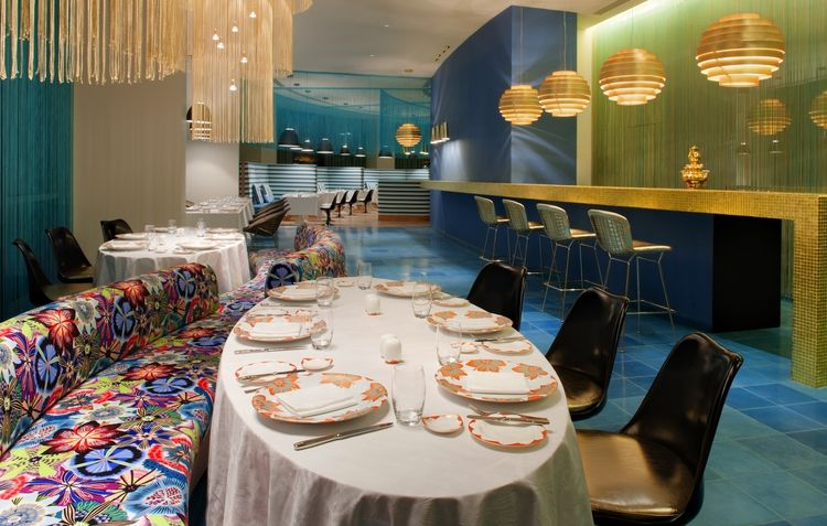 The hotel's on-site restaurant, Cucina, is full of personal Missoni touches, from the teacups to the cuisine. Missoni Home china was created exclusively for the hotel, debuting there first before becoming available in Missoni shops. Also, Rosita Missoni d