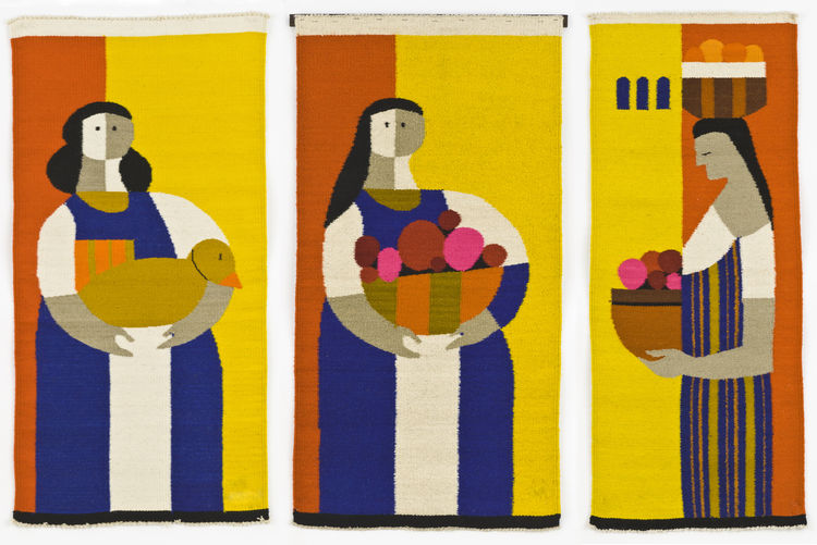<i>Three Campesinas</i> (triptych), hand-woven wool tapestry, Evelyn Ackerman, 1970-72.