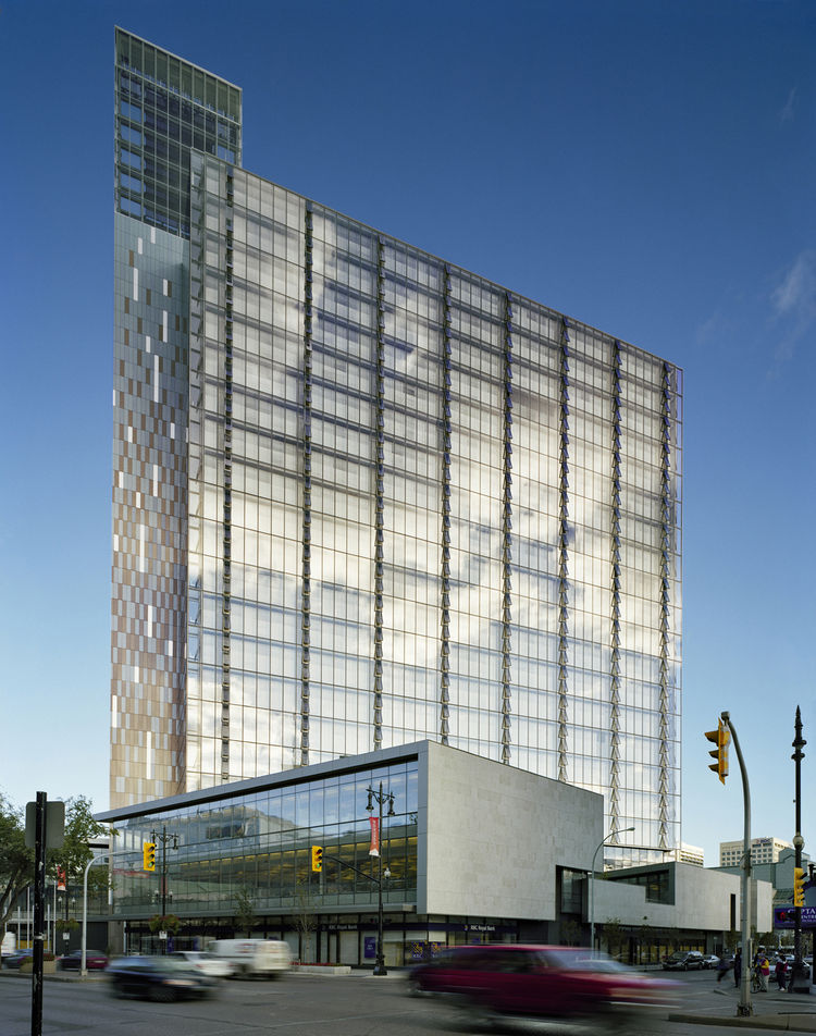 "<b>Project:</b> Manitoba Hydro Place<p></p><b>Location:</b> Winnipeg, Manitoba<p></p><b>View:</b> Exterior<p></p><b>Architect:</b> <a href=""http://www.kpmbarchitects.com/"">Kuwabara Payne McKenna Blumberg Architects</a> and <a href=""http://www.smithcarter."