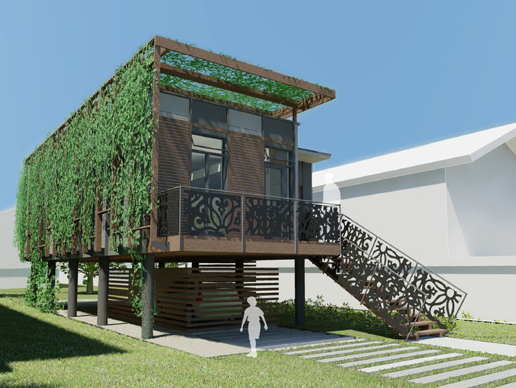 "<b>Project:</b> Special No. 9 House<p></p><b>Location:</b> New Orleans, Louisiana<p></p><b>View:</b> Rendering, exterior<p></p><b>Architect:</b> <a href=""http://kierantimberlake.com/home/index.html"">KieranTimberlake</a><p></p><p></p><b>Rendering by</b> Ki"