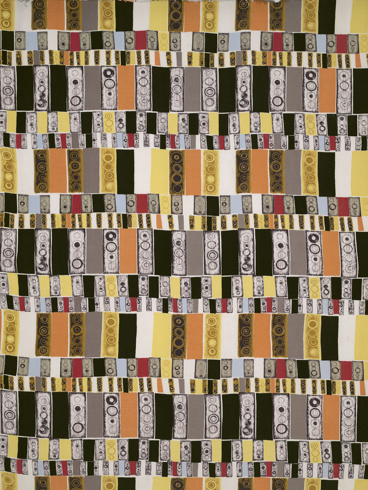 Untitled (Traffic Lights), (detail), ca. 1952. Jacqueline Groag. Manufactured by David Whitehead, Ltd. Jill A. Wiltse and H. Kirk Brown III Collection of British Textiles. On display at the Textile Museum in Washington, DC, May 15-September 12, 2010, as p