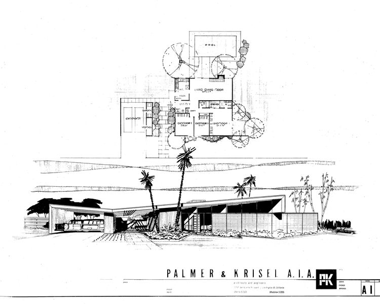 Twin Palms Plans and Elevation Drawings by William Krisel.