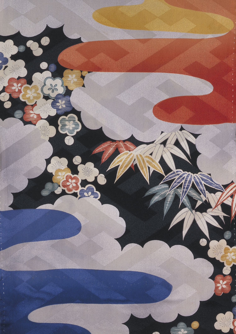 Under kimono, figured twill silk with printed decoration. Japan, 1940-50 (V&A: FE.14-1987). From <i>V&A Pattern Series II: Kimono</i> published by V&A Publishing and Abrams Books.