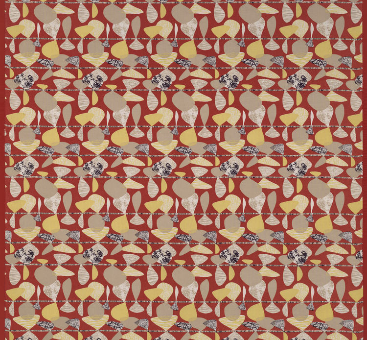 Untitled, (detail), ca. 1952. Jacqueline Groag. Manufactured by David Whitehead, Ltd. Jill A. Wiltse and H. Kirk Brown III Collection of British Textiles. On display at the Textile Museum in Washington, DC, May 15-September 12, 2010, as part of the exhibi