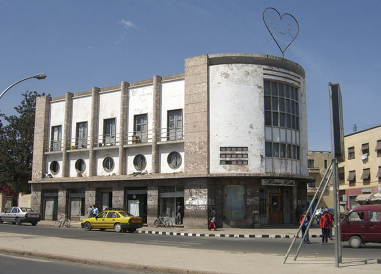 Here, a photo by Adjaye of Asmara, a city in Eritrea, a country bordered by the Red Sea, Sudan, Ethiopia, and Djibouti.