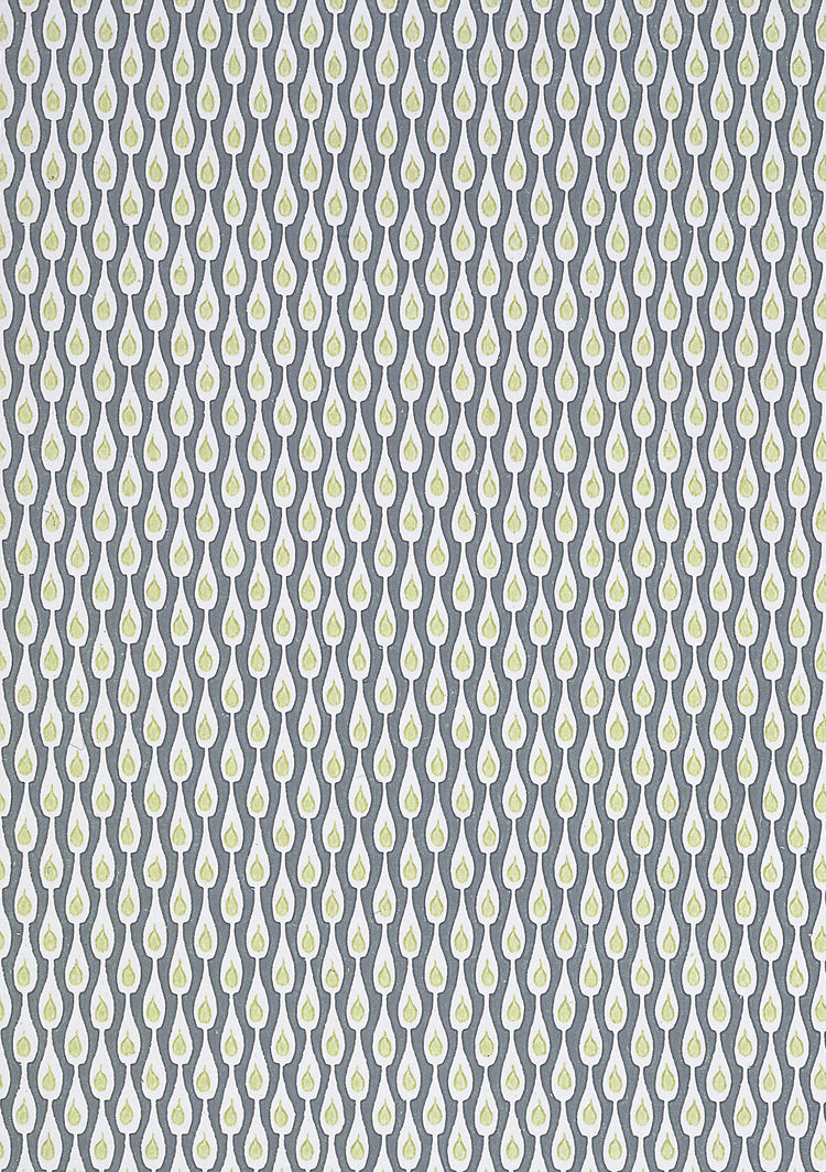 """""""Ljus i Flaske (Light in Bottles)"""" is a peacock-esque wallpaper sample by Preben Dahlstrom for Dahls tapetfabrik, block-printed in Denmark. 1956, from <i>The Fifties</i>."""