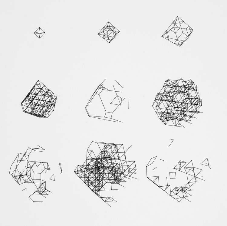 """Paul Brown's plotter drawing """"BIGDIM / 0 10 10 0 0 0 / 200,120 / 11,969"""" is an intricate progression and deconstruction of geometric shapes. 1979, from <i>Digital Pioneers</i>."""