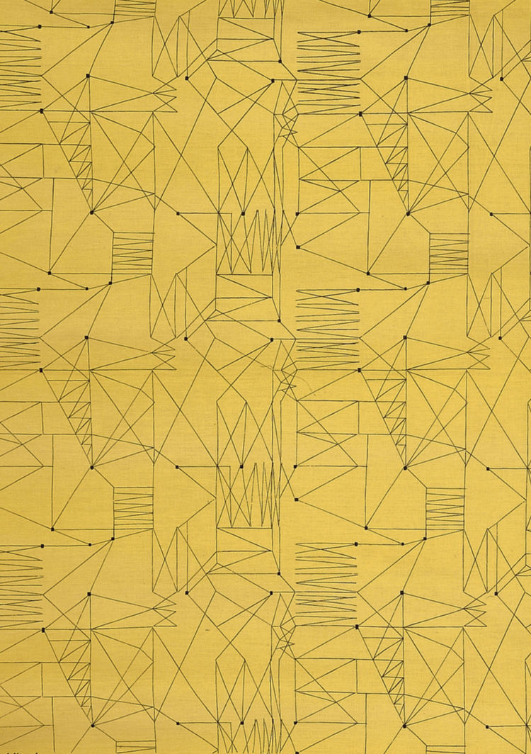 """""""Graphica"""" is a furnishing fabric sample from British textile design maven Lucienne Day for Heal's. 1954, from <i>The Fifties</i>."""