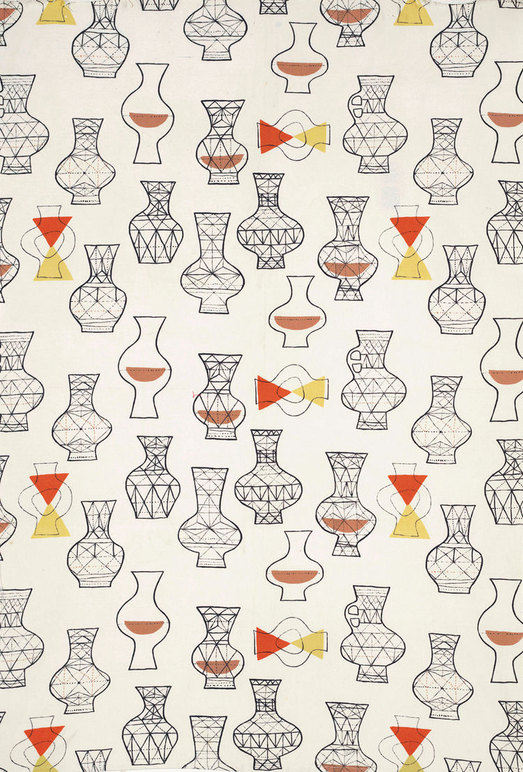 Untitled (Vases), (detail), ca. 1953. Marian Mahler. Manufactured by David Whitehead, Ltd. Jill A. Wiltse and H. Kirk Brown III Collection of British Textiles. On display at the Textile Museum in Washington, DC, May 15-September 12, 2010, as part of the e