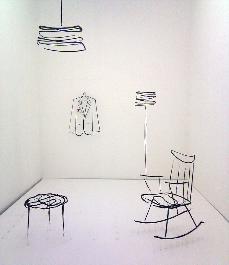 "In Ventura Lambrate at the Enrico Fornello Gallery, the <a href=""http://analogiaproject.com/Site/Home.html"">Analogia Project</a> by Andrea Mancuso and Emilia Serra consisted of a cozy interior ""sketched"" in three dimensions using wires and wool."